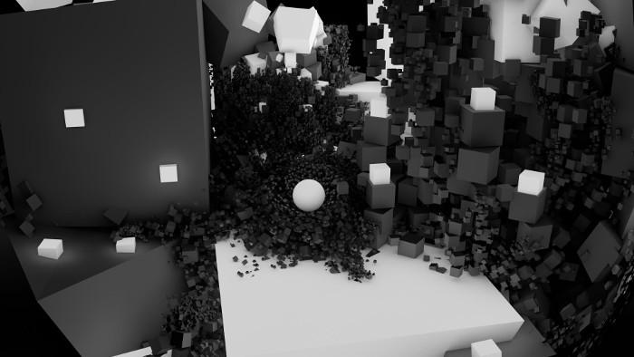 3D Fractal Black White cubes_HD