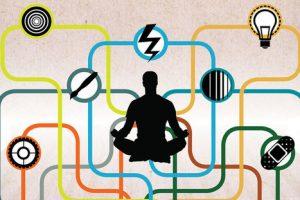 Image homme en méditation avec réseau des éléments de l'environnement